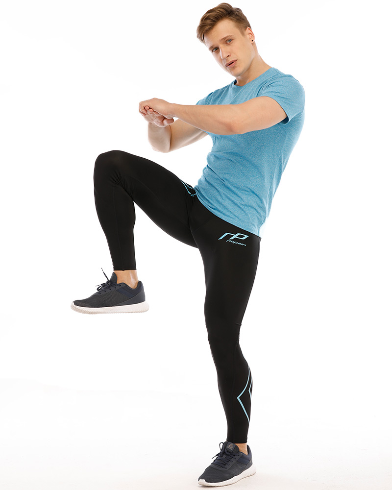 Men's compression tights, blue