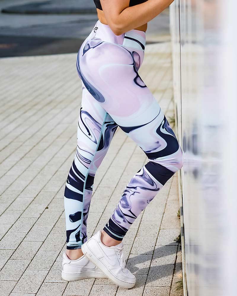 Naisten premium urheilutrikoot, pink marble