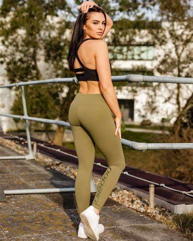 Women's training leggings, pine green