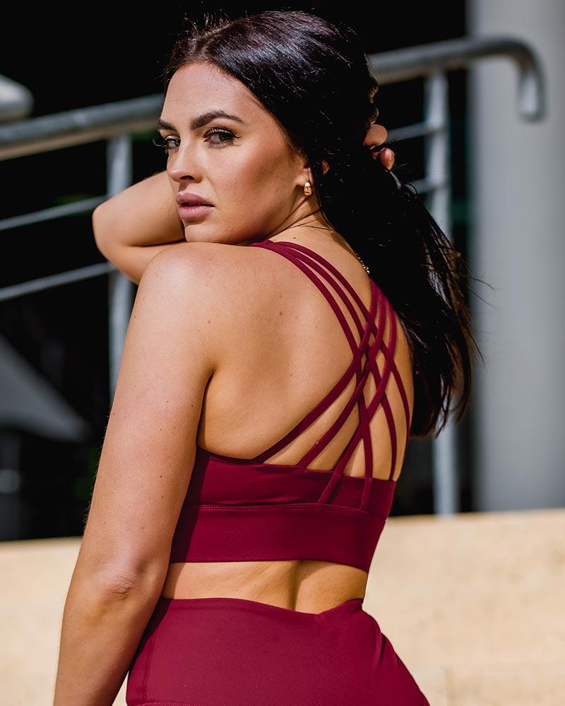 Legacy crossback sport bra, autumn plum