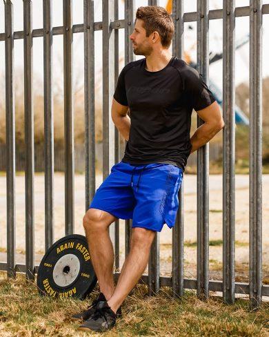 Men's training shorts, sky blue